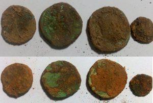 monedas de excavación arqueológica